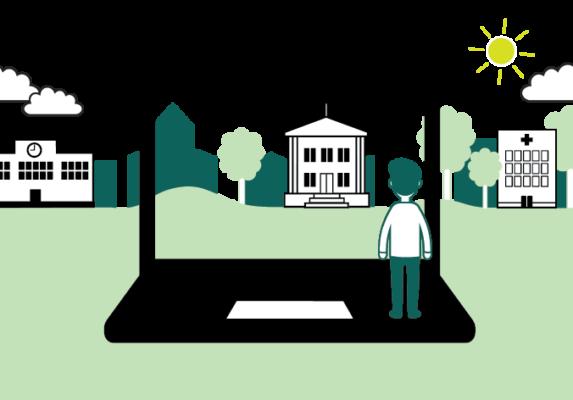 Piirros, jossa ihmishahmo seisoo kannettavan tietokoneen päällä katse näytön suuntaan. Läpinäkyvän näytön takana on maisema, jossa näkyy puita ja rakennuksia.