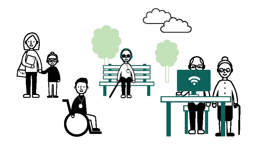 Erilaisia ihmisiä. Nainen ja lapsi, jolla on kuulokkeet korvillaan. Pyörätuolissa istuva ihminen, puistonpenkillä istuva näkövammainen henkilö ja vanhempi mies ja nainen, jotka ovat tietokoneen ääressä. Piirroskuva.