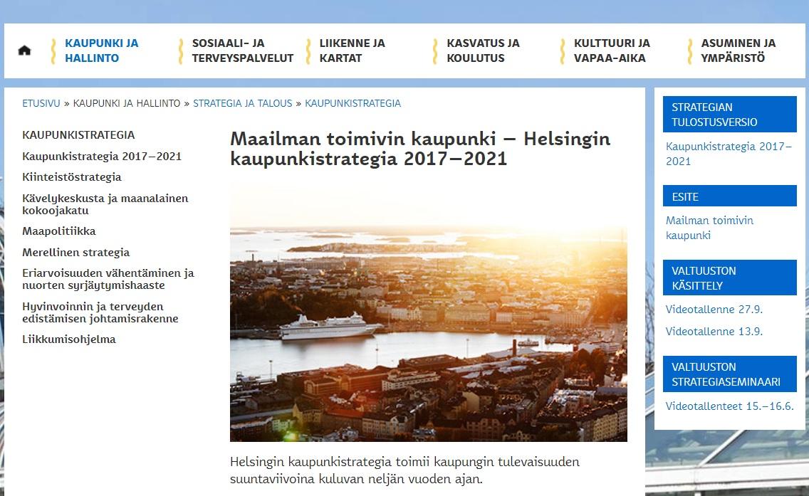Kuvakaappaus Helsingin kaupungin strategiaa esittelevältä sivulta, jossa kuvituskuvana on valokuva Helsingistä.