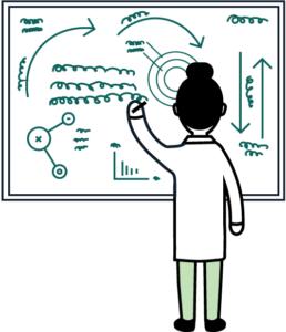 nainen seisoo kasvot kohti valkotaulua, jolle hän on piirtämässä monimutkaista kaaviokuvaa. Piirroskuva.