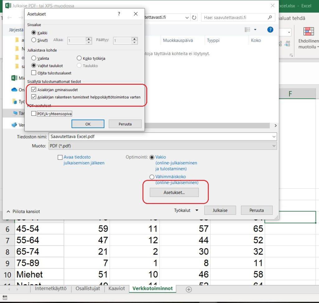 Ruutukaappaus Excel-ohjelman pdf-tallennuksesta.