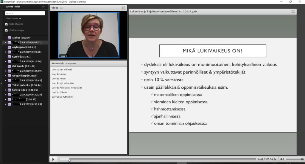 Ruutukaappaus Adobe Connect -ohjelman näkymästä. Näkyvillä on kolme ikkunaa: vasemmassa laidassa luettelo osanottajista, keskellä video esiintyjästä ja chat-ruutu. Oikeassa laidassa on ikkuna esitysdioille.