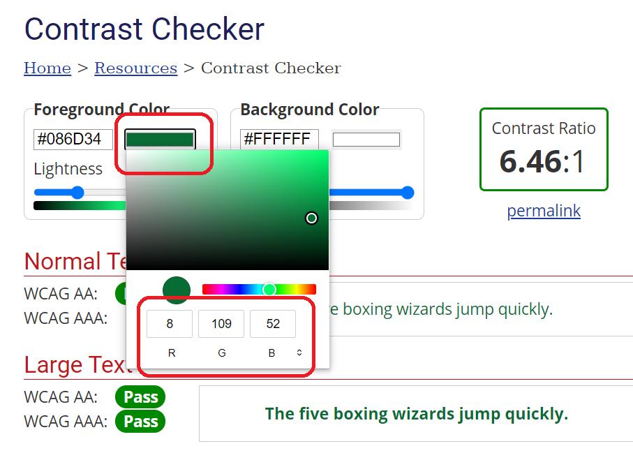 Ruutukaappaus WebAIM Color Contrast Checker -työkalusta.