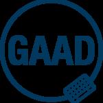 Logo, jossa ympyrän sisällä lyhenne GAAD ja ympyrän kehällä näppäimistön kuva.